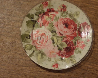 Fabric Covered Decorative Plate Wall Hanging ~ Roses