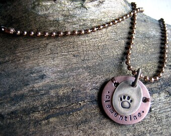 Pet Memorial Pendant Necklace - Copper - Brass - Aluminum Backer - Personalized Memorial Necklace - Antique Copper Ball Chain