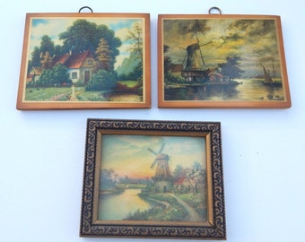 Mid Century Windmill and Cottage Framed and Decoupaged Prints