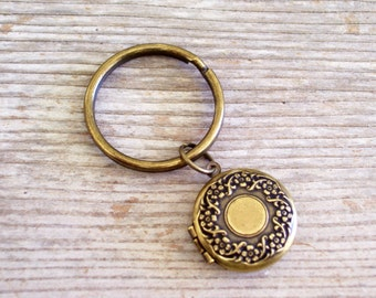 Brass Floral Locket Key Chain, Flower Locket, Round Brass Locket, Antiqued Brass Plated Key Ring