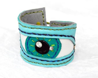 Blue leather Large cuff Bracelet wristband green eye blue eye woman cuff leather original gift for woman weird bracelet ONE OF A KIND