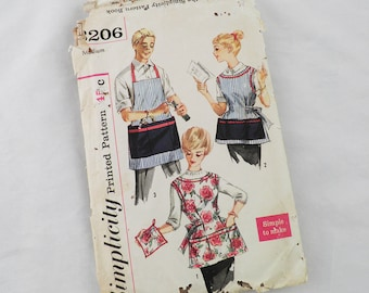 Simplicity vintage pattern 3206: 1950s vintage apron pattern for men and women