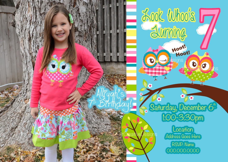St Birthday Girl Owl Invite Owl Invitation Look Whoos Turning - 1st birthday invitations girl owl
