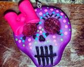 Polymer Clay Sugar Skull- Colorful Sugar Skull Pendant/Bow Center/Magnet (Pearl Purple)