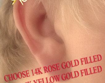 Cartilage Piercing Dainty Bow 14k Yellow or Rose Gold Filled