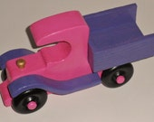Wooden Kids Toy Pink and Purple Pick-up Truck