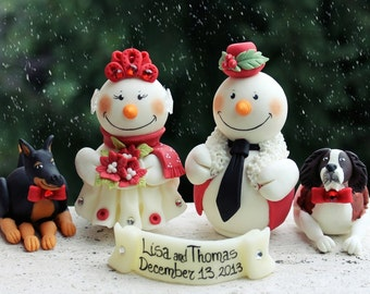 Snowman wedding cake topper with dogs, Christmas winter wedding personalized
