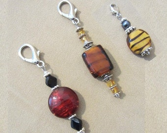 Red or Brown or Tiger Stripe Glass Bead Add a Charm, Beaded Jewelry Purse Charm Animal Print Gifts Add on Charm Keychain Red Zipper Pull
