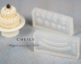 Dollhouse miniature Lace Whipped cream Flexible Mold/Mould [ADVANCED LEVEL]