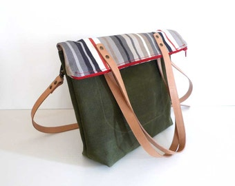 Free Express Shipping Striped Canvas and Green Waxed Canvas Foldover Tote Bag  -  Shoulder bag / Tote Bag / Diaper Bag /School bag