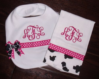 Bring Home Baby Cow and Hot Pink Burp Cloth and Bib with Bow and free monogram