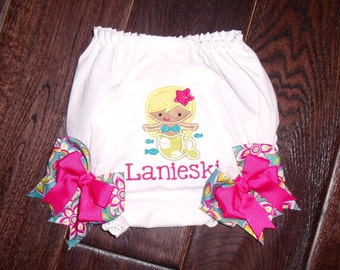 Boutique Tropical Mermaid themed Bloomers with Bows