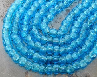 9mm Translucent Aqua Glass Crow Beads,  25 Inch Full Strand (TAINDOC99)