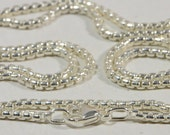 """Sterling Silver 18"""" Italian Sterling Silver Rounded Box Chain Silver Jewelry Supplies"""