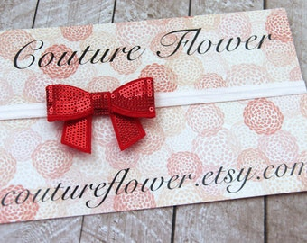 Adjustable Headband with Sequin Bow in Red and White - by Couture Flower