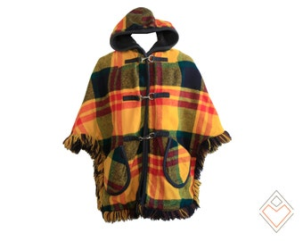 1970s reversible plaid and felt hooded cape with toggle closure // fits most sizes // mustard, red, deep green oversized plaid
