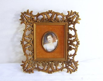 Vintage Victorian Wall Decor Ornate Frame Cameo Creations Portrait of a Girl