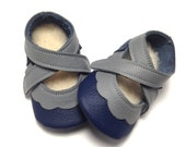 Handmade soft soled lambswool lined leather baby girl shoes.  Navy blue and grey baby slippers. Moccasins. Crib Shoes
