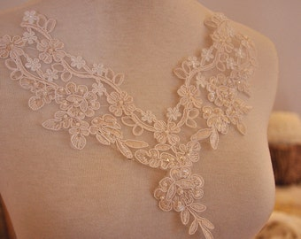 beaded lace applique, alencon applique for bridal, wedding , jewelry or costume design