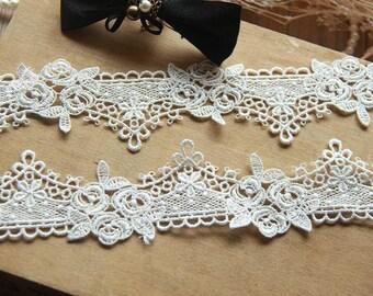ivory venise corchet lace fabric for bridal vei, wedding sash, bridal garters, 2 yards