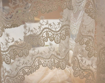 scalloped lace trim, off white fabric trim lace,soft white embroidery gauze lace