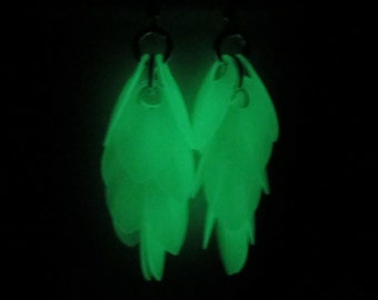 Glow in the dark earrings, rave jewelry, chainmail shaggy scalemail
