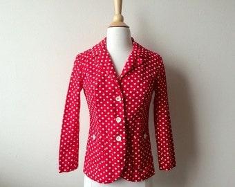 Vintage Red and White Polka Dot Jacket/Blazer