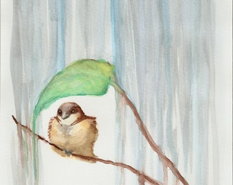 "Brown Bird Art - Rain Art Print - 8""x10"" Poster - Bird With Leaf - Rainy Day - Blue Nursery - Art & Collectibles - Babys Room - Home Decor"