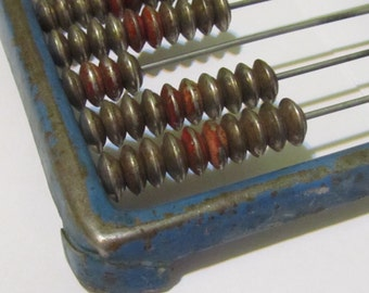 Rare Vintage all metal small Abacus, 1960s, school abacus, all metal abacus, metal patina,  Home decor