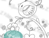Springtime Friends - digital stamp digistamp JPG PNG - bird dragonfly flowers line art for crafting