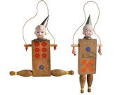 original art doll ornament, JUMP ROPE, vintage wood domino, by Elizabeth Rosen