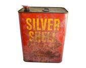 LARGE tin, Shell Oil Tin, Silver Shell, 2 gallon, advertising tin, from Elizabeth Rosen