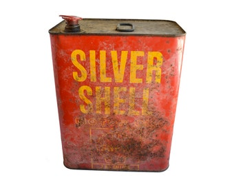LARGE tin, Shell Oil Tin, Silver Shell, 2 gallon, advertising tin, from Elizabeth Rosen
