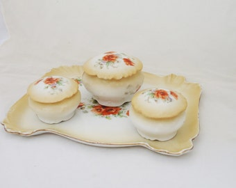 Limoges Dressing Table Set, Poppy Limoges Dressing Table set, Trinket Limoges Set, UK Seller