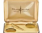 Vintage Gold Tone Cufflinks and Tie Bar in Original Box C1960 - Mens Accessories - Wedding Grooms Cuff Links - Mid-Century Men's Accessories