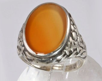 Vintage Signet Ring - 1930's Man's Signet Style Silver Ring with Agate Stone - Ornate Setting - Size 9 Man's Ring, Gift for Dad, Husband