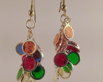 Fun, colorful, dangly and articulated and vibrant earrings.