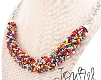 Colorful Bib Necklace Seed Bead Rainbow Bright Braided Seed Bead Necklace Bridesmaid Necklace