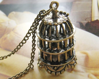 Antique brass bird cage necklace (Long chain)