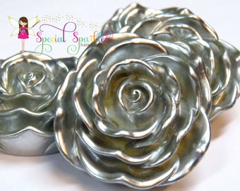 4 for 4, SALE PROMO, 4 Silver Flower Beads, Big 48mm, Silver Rose Bubblegum Beads