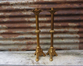 Wonderful Antique Pair of 2 Brass Religious Church Candle Holders Early 1900s Alter Candle Sticks Ornate Decorated Large 19 Inches Height