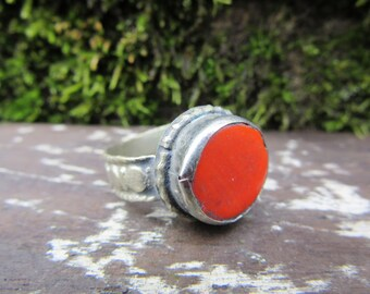 Vintage Metal Ring Orange Stone Size 9 Chunky Ring Unique Fortune Teller Gypsy Jewelry Belly Dancer Ethnic Mediterranean Stocking Stuffer