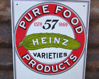Heinz 57 Pickles Porcelain Sign Red & White Sign Signed 1986 Vintage VTG  Rustic Barn Primitive Hanger Vintage Reproduction Farm Metal Sign