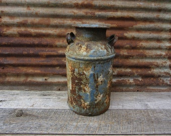 Old Milk Can Painted Blue with Stars Patriotic Distressed Vintage Dairy Antique Rustic vtg Industrial Decor Tractor Stool Seat  Rusted Rusty