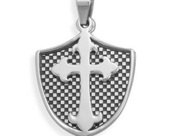 MEN'S or Teen Boy's 2 Piece Shield and Cross Pendant - 316L Stainless Steel