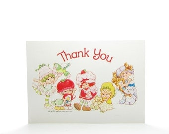 Thank You Postcard Strawberry Shortcake Vintage Card with Cherry Cuddler, Lime Chiffon, Butter Cooki & Angel Cake