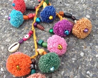 Colourful Pom Pom Hmong Keychain Handmade, Ready To Ship