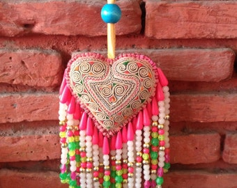 Colourful Decorative Heart Bag Charm / Hmong Keychain