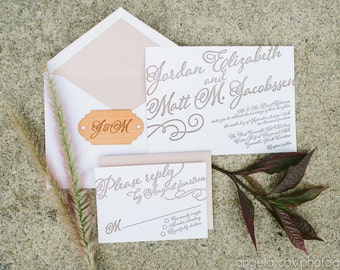 Hand Calligraphy Style Letterpress Wedding Invitation, Rustic Nude Blush Colors, Wood Tag