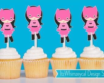 Pink Batgirl Super Hero Cupcake Toppers